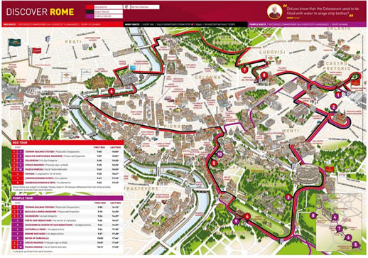Big Bus  Rome Sightseeing Bus Route Map
