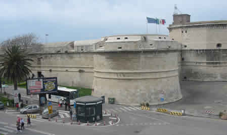 Civitavecchia Port Main Entrance, Cruise Shuttle Bus Drop Off Point By Fort With Small Information Kiosk