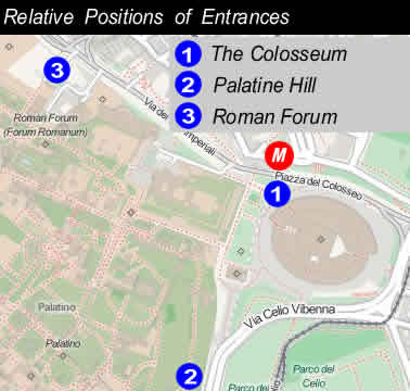 Relative Location of Entrance Gates of the Colosseum, Roman Forum and Palatine Hill