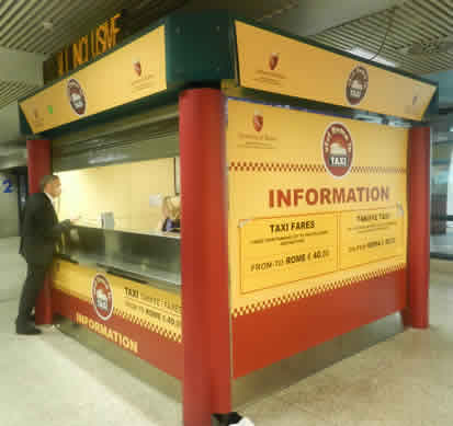 Rome Taxi Information Kiosk In Passenger Terminal At Fiumicino Airport