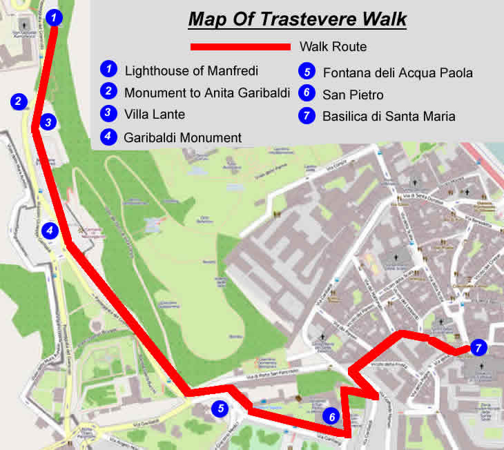 Trastevere Self Guided Walk In Rome Ideal For Evenings: Rome Walking Tour Map At Infoasik.co